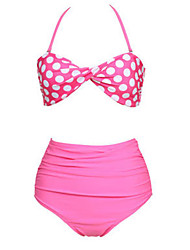 Women's Halter Bikinis , High Rise/Dot Nylon/Spandex Pink