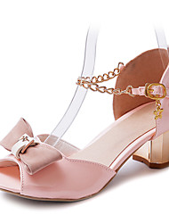 Leatherette Women's Chunky Heel Peep Toe Sandals With Chain Shoes(More Colors)