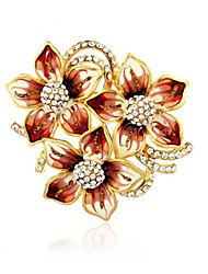 Graceful Stoving Varnish Alloy Gold Plated With Rhinestone Flower Women's Brooch