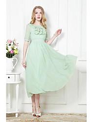 Women's Ruffle Hem Bohemia Chiffon Long Dress