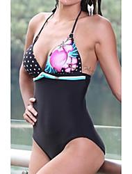 Halter Flor Dots Uma peça Swimwear