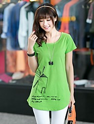 Женская мода шею и длинные участки кода Мельница эстампов футболке
