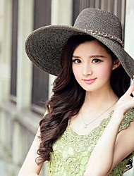 Exportés raphia paille dames en plein air / Casual / chapeaux de plage avec la chaîne d'or