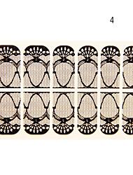 12PCS Phoenix Coronet Forme Black Lace Nail Art Stickers N ° 4