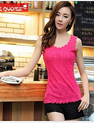 Women's Solid/Lace Black/Blue/Green/Pink/Red/White/Yellow Vest , U Neck Sleeveless Lace