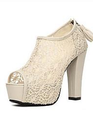 Sunfarey Women's Sexy Chunky Heel Lace Shoes