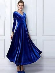 azul vestido maxi / / verde vintage, manga longa v pescoço das mulheres