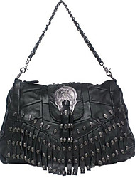 Maga Women's Modern Punk Style Skull Sheepskin Rivet Tassel One Shoulder/Crossbody Bag(Black)