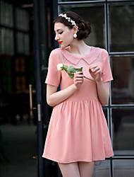 Trapèze Robe Femme SortieCouleur Pleine Col Rond Claudine Manches Courtes Rose Polyester Printemps Eté