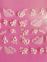 Design 3D Rose Pattern Carving Art Nail Stickers
