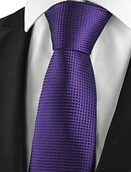 Kiss Tie New Plaid Checked Purple Classic Men Tie Formal Suit Necktie Holiday Gift