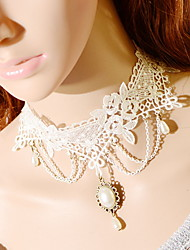 OMUTO Lace White Fashion Princess Aestheticism Pearl  Necklace(White)