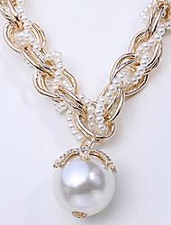 mode collier de brins blanc perle (1 pc)