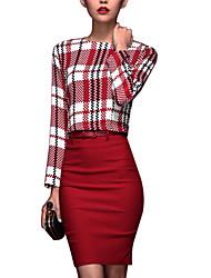 Vrouwen Retro Fashion Plaid Jacket naar Hip Half Rokken