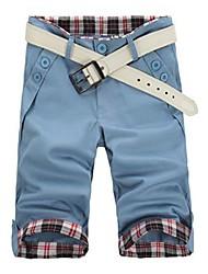 Men's Summer Casual Cropped Pants, Blue Khaki Black Green Gray