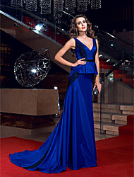 TS Couture Formal Evening Dress - Elegant Open Back Sheath / Column V-neck Sweep / Brush Train Stretch Satin with Lace Sash / Ribbon