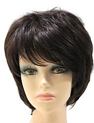 Capless Short Black Natural Straight Synthetic Hair Full Wig