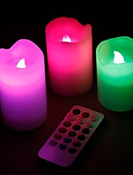 3Pcs Color Changing LED Candle Flameless Timing & Electronic Remote Control for Gift Home Wedding Party Decoration