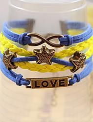 Qinuo Amor Estrellas de colores pulsera de cuero tejida a mano