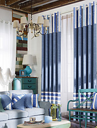 (Two Panels) Mediterranean Fresh Style Pure Blue Solid Energy Saving Curtain