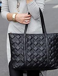 INLEELA Rhombus Leather Shoulder Bag (Black)