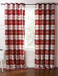 Country Two Panels Plaid/Check Red Bedroom Cotton Panel Curtains Drapes
