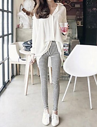 Women's Fashion Grid Pattern Slim Pencil Leggings