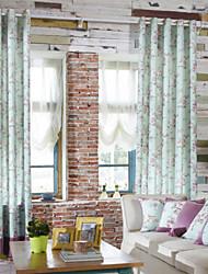 (Dois painéis) elegante cortina verde luz de poupança de energia floral