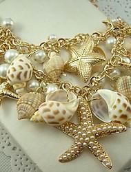 conchas de perlas de estilo europeo y jersey collar de cadena doble estrella de mar