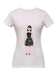 De cuello redondo de la Mujer Faldas Chica manga corta Decoración camiseta
