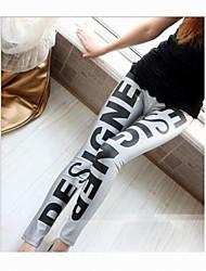 Moda Grandes Cartas fluorescente Seda noveno Pantalones
