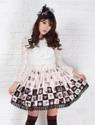 Saia Gótica / Doce / Lolita Clássica e Tradicional Princesa Cosplay Vestidos Lolita Marrom Estampado Sem Mangas Comprimento Médio Saia