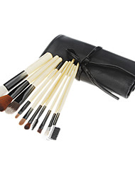10PCS Wooden Handle Makeup Brush Set with Pink Leatherette Pouch