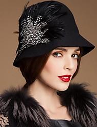 Mesdames laine nobles partie / mariage / chapeau en plein air avec la plume (plus de couleurs)