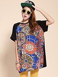 Größe Frauen Außenhandel Muster Retro Bannfarbe losen T-Shirt große Version des Typs (Zufallsmuster)