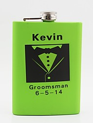 Gift Groomsman Personalized Green Stainless Steel 8-oz Flask - Suits