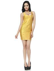 Weige Yellow Water Drop Print Tank Dress