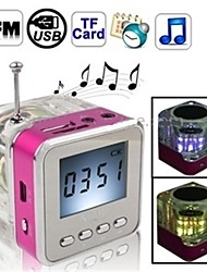 "NIZHI TT-028 2"" LCD Colorful Flash Mini Speaker with FM, TF Card Reader & Clock - (Red/blue/Black/Green+Transparent)"