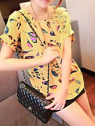Pássaro Floral Causal T-shirt de impressão da Mulher