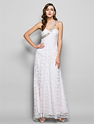 Prom / Formal Evening / Military Ball Dress - Plus Size / Petite Sheath/Column One Shoulder Floor-length Lace