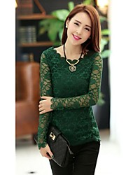 Women's Lace Beige/Black/Green/Red Blouse , Round Neck Long Sleeve Lace