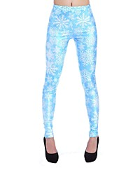 Elonbo Women's Digital Printing Coloured Drawing or Pattern White Ice Style Tight  Leggings