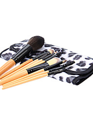 9Pcs Cosmetic Brush Tools with Leopard Print Pouch