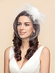 Wedding Veil One-tier Blusher Veils / Birdcage Veils Tulle White / Black A-line, Ball Gown, Princess, Sheath/ Column, Trumpet/ Mermaid