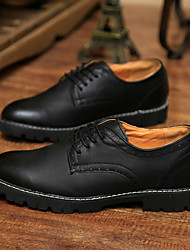Jiebu Men's NewFashion New Daily Leisure Leather Shoes (Black) YCN8161