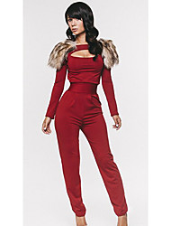 Women's Red Jumpsuits , Casual Long Sleeve