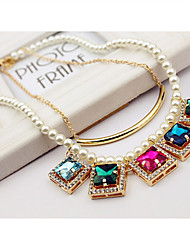 Yiyi Women's Korean Style Fashion Dual Layer Colorful Crystal Pearl Necklace(Screen Color)