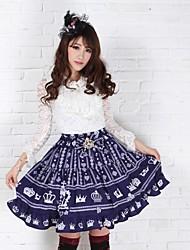 Jupe Gothique / Doux / Lolita Classique/Traditionnelle Princesse Cosplay Vêtements de Lolita Violet Lace Sans manche Moyen Jupe Pour Femme