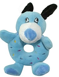 Little Blue Bear Donut Ring Style Soft Plush Toy for Pets Dogs Cats