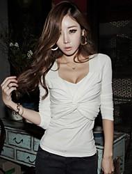 Delle donne sexy Scollatura a cuore Croce Fronte Bodycon cotone T-shirt/Tops